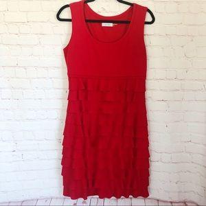 [Calvin Klein] red ruffle tank style sheath dress